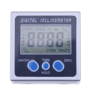 4 x 90 goniómetros de electrones Electronic Protractor Digital Inclinometer Level Box Herramienta de medición de nivel magnético Angle Meter