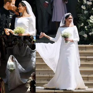 2019 Príncipe HarryMeghan Markle Mangas Compridas Vestido De Noiva Simples De Cetim Bateau Pescoço Longo De Noiva Vestidos De Casamento Tribunal Trem Feito Sob Encomenda