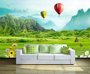 Свежая трава горы воздушный шар 3D ТВ фон фреска 3d обои 3d обои для ТВ фон