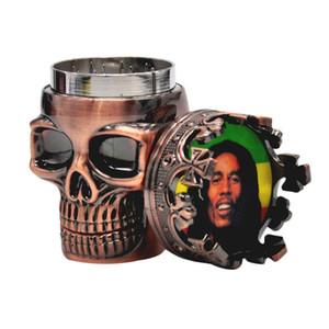 HoneyPuff Skull Metal Herb Tabacco Spice Smoking Grinder Crusher manovella con adesivo