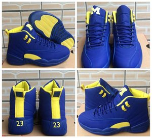 con Box 2018 Cheap 12 Michigan Blu Giallo M Bordeaux grigio scuro scarpe da basket taxi sneaker Suede US 5.5-13