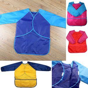 Neue Kinder Schürzen Bib Kleidung Kinder Wasserdichte Farbe Schürzen Baby Essen Mahlzeit Malerei Langarm-kittel Geeignet für 5-7Years WX9-774