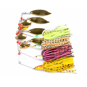 4 Piece 20.5g Super Luring Spinner Bait Double Reflective Golden Metal Spoon Buzzbait 3D Fish Eye Fishing Lure with Hook