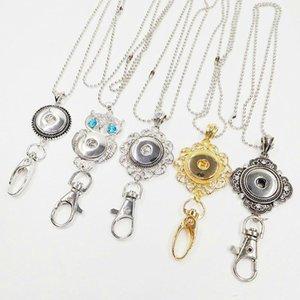 Großhandel Noosa Snap Keychain 18 Karat Gold Lanyard Abzeichen Arbeitsunterlagen Brocken Taste DIY Modeschmuck Ketten Für Medaillon Halsketten