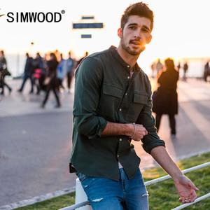 Pamuk Simwood Rahat Gömlek Erkekler Bahar Yeni Mandarin Yaka Saf Pamuk Slim Fit Artı Boyutu Çift Cep Yaka Giyim