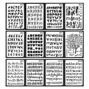 12Pcs Set Alphabet Series Bullet Journal Stencil Plastic Planner Journal Notebook Diary Scrapbooking Lace Ruler For DIY Supplies