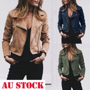 Femmes dames en cuir vestes manteaux occasionnels Zip Up Biker Flight Tops Dames solides Slim Chic Turn Down Collar Veste Femme
