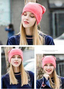 Yeni kadın Beanie Şapka Skullies Beanies Polyester Örme Şapka Beanie Şapka Kış Rahat Kadife Kadın Şapka