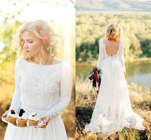 Land Backless Brautkleid Jewel Neck Long Sleeves Lace Designer Boho Chiffon Hofzug Hochzeit Brautkleider Kleider
