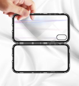 Magnetische Adsorption Metall Telefon-Kasten für IPhone XS MAX XR XS 6 6s PLUS 7 8 Plus Full Coverage Rahmen mit gehärtetem Glas 50PCS / LOT
