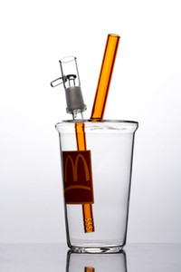 Макдональдс стекла напитки Кубок стекла Бонг Dab Rigs Ресайклер Thick Base Бонг водопроводная труба Beaker Бонг Oil Rig 14мм Joint Glass Water Bongs