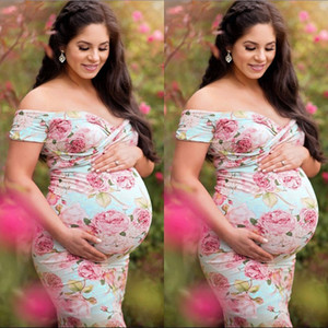Women Beach Maxi Dress With Floral Print Pregnant Dress For Women Off The Shoulder Backless Sexy Dress