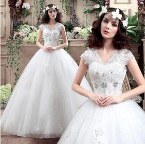 Vestidos de boda baratos del V-cuello del vestido de bola 2018 Más tamaño Appliques del cordón Abra los vestidos de boda largos cristalinos de las lentejuelas