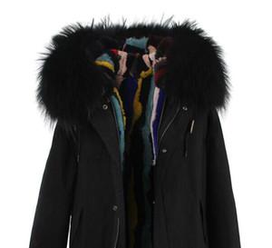 Jazzevar Марка снег пальто черный мех енота отделка красочные полосы мех кролика черный холст куртки меховые парки для женщин Австралия Новая Зеландия