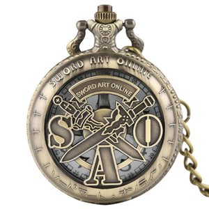 YISUYA Sword Art Online Orologio da tasca al quarzo Steampunk Collana pendente Vintage bronzo catena Fob