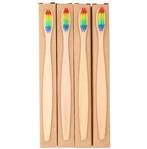 Großhandel Kopf Bambus Zahnbürste Großhandel Umwelt Holz Regenbogen Bambus Zahnbürste Mundpflege Weichen Borsten mit Kraft-Papier-Box
