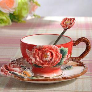 Chá caneca de café de cerâmica peônia Flor leite caneca de decoração para casa artesanato decoração de casamento estatueta de porcelana Cups Saucers presente