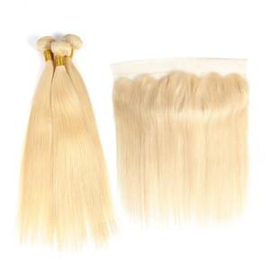 Droite 613 Blonde Cheveux Couleur Bundles Remy Cheveux Humains 3 Bundles Avec 13 * 4 Oreille À L'oreille Dentelle Frontale Cheveux Humains Brésiliens 10A Grade