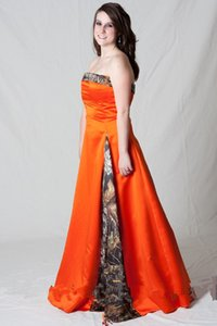2018 Hunter Oranger Camo Robes de bal Aline avant Insert Mossy Oak demoiselle d'honneur