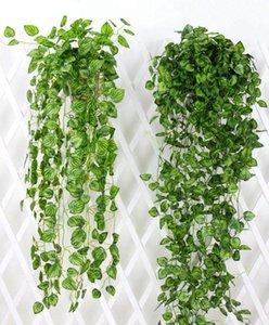 50 unids hiedra artificial guirnalda follaje verde hojas falso colgante de la planta de vid para la fiesta de bodas Decoración de la pared de la decoración del hogar