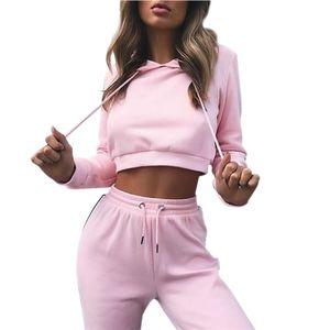 Frauen Yoga Sport Anzug Herbst Shirt Set 2 Stück Weibliche langärmelige Hosen Outdoor schnell trocknend Mit Kapuze Sportbekleidung Laufbekleidung