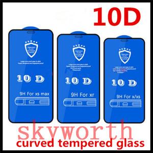 Voll anhaftende Kleber 10D Curved gehärtetes Glas für iPhone 12 11 Pro X XS MAX XR Plus-Schirm-Schutz-Abdeckung voller 3D-Film