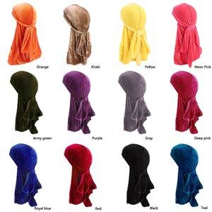Erkekler Kadınlar Bandana Kadife Türban Şapka Ipeksi Durag doo du dog bez Şapkalar Başörtüsü uzun kuyruk headwrap Kafatası Kap Saç aksesuarları