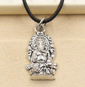 free ship 20pcs lot Tibetan Silver Religion Thailand Ganesha Buddha Choker Charms Black Leather Cord Necklace DIY