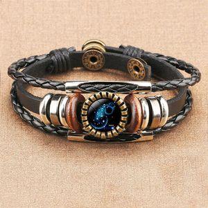 12 Zodiac Horoscope Verre Cabochon Bracelet Multilayer Wrap Bracelet Wristband femmes Bijoux mode cadeau Will et cadeau Sandy