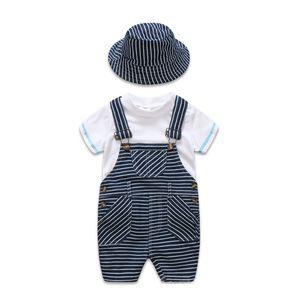 Neugeborenes Baby Kleidung Baumwolle Jungen Anzug Sets weißes T-Shirt + gestreiften Hut + Overalls Outfits Set Casual Boy Kleidung Sommer Y1893005