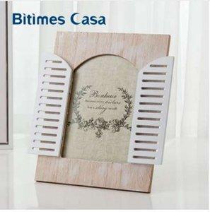 Bitimes Do Vintage De Madeira MDF Photo Frame Com Janela de Decoração Para Casa Família Mini Molduras Casa Art Decor