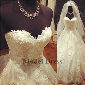 Real pictur vestidos de casamento 2018 a linha querida apliques elegantes modest vestidos de noiva com caixinha custom made alta qualidade vestido de novia