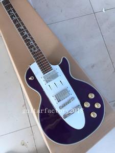 Top Quality 1960 Corveta Roxo Branco Custom Shop Guitarra Elétrica Chrome Hardware Frete Grátis