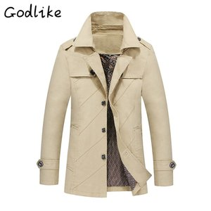 GODLIKE New 2018 spring men's fashion business casual cotton long coat Men baggy long-sleeved solid-colored trench coats M-4XL
