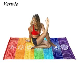 2017 Nueva Plaza Del Arco iris Beach Floor Mat India Mandala Manta Tapiz Chal Impreso Viajes Playa Yoga Mat 150 * 75 cm Verano