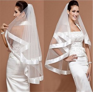 Ribbon Vintage 2018 Cheap In Stock Bridal Veils Bridal Wedding Accessories Long Edged Formal Wedding Veils 049