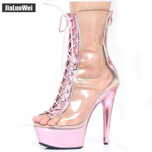 2018 Nuevas sandalias atractivas Boots 15CM High Summer Heels Transparente con cordones Back Zip Peep Toe Platform Mujeres Botines Metálicos Rosa
