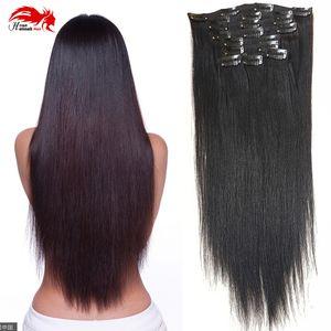 """Двойной уток 100% Реми человеческих волос клип в расширениях 10""""-26"""" класс 7А качество полная голова толстые длинные мягкие шелковистые прямые 1B натуральный черный"""