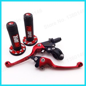 Soft Rubber Hand Handle Grips Pit Dirt Bike + Red ASV Folding Foldable Brake Clutch Levers MX Motocross MotorcycleR