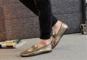 2019 Remise Pilote Mocassins Avec G Sylvie Web Boucle Mocassins Été Hommes Flat Casual Cuir Verni Italie Moosehide Weekender Chaussures