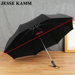 JESSEKAMM 2-3 People 27 'Windproof 컴팩트 한 강한 접는 우산 명주 캐노피 고무 페인트 손잡이 120cm 큰 대형 남자 부드러운