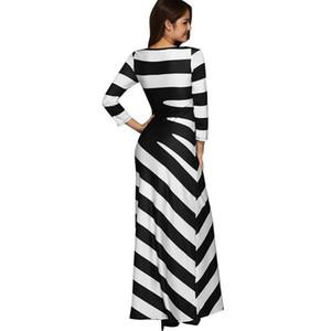 New O Neck Striped Print Long Dress Fashion Long Sleeve Autumn Winter Women Party Evening Maxi Dress
