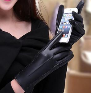 Перчатки качество кожи женщин экрана варежки касания Soft Driving Осень Водонепроницаемый Зимние перчатки Мотоспорт Комфортное High Solid Ptrgi