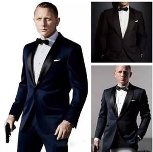 007 جيمس بوند أزرق داكن العريس البدلات الرسمية سترات + بانت + التعادل أزياء الرجال تكس البدلات الرسمية صديقها السترة العريس ملابس رجالي الكلام