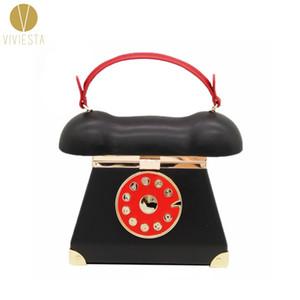 ROTARY TELEFON ACROSS HANDBAG - Kadın Vintage Retro Eski Moda Yenilik Bildirimi Benzersiz Üst Kolu Crossbody Debriyaj Çanta