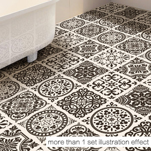 4 PCS Set 50*50cm New INS Black and White Floor Stickers Bathroom Bedroom Floor Sticker Home Decoration