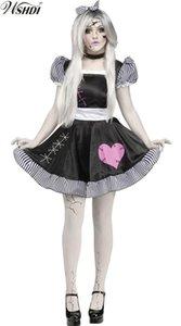 Kadın Zombi Bebek Kukla Kostüm Kırık Bebek Kostüm Hayalet Porselen Bebek Kız Cadılar Bayramı Sirk Palyaço Fantezi Elbise