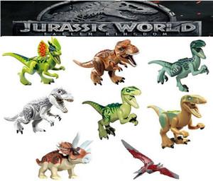 Mini rakamlar Jurassic park Dinozor çocuklar köşe yapımları blokları Velociraptor Tyrannosaurus Rex Yapı Taşları Setleri Çocuklar oyuncak Tuğla hediye