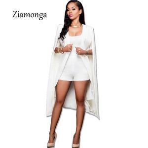 Brasão Ziamonga Moda Blazer Cabo longo manto Blazer Casacos Popular Preto Branco Cabo Blazers Personalidade Casacos Fatos para mulheres
