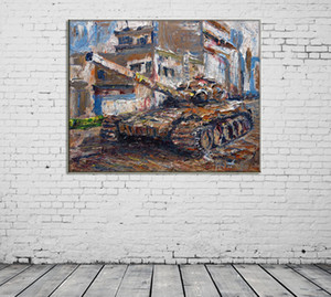 ZYXIAO Posters and Prints war tank abstract modern Oil Painting Canvas No Frame Wall Pictures for Living Room Home Decoration ys0124